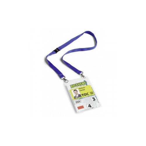 Durable Name Badge with Necklace A6 Blue PVC Ref 852507 [Pack 10]