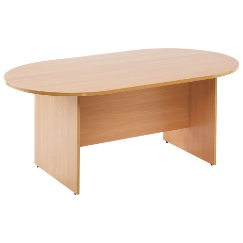 DEOS Essentials D-End Boardroom Table 2400wX1200dX730h (mm) - Beech