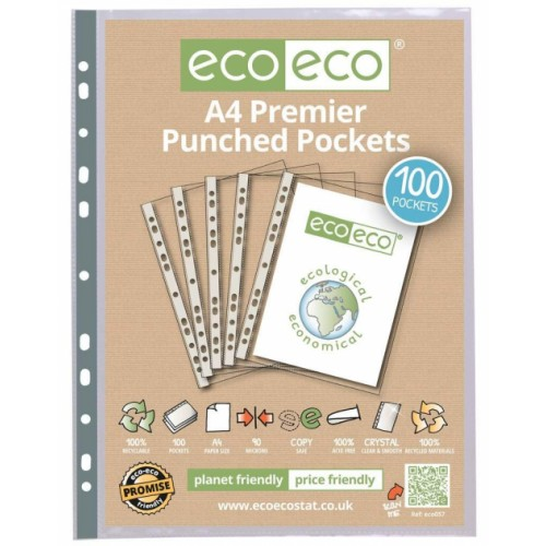 EcoEco A4 100% Recycled Bag Premier Punched Pocket 90Microns Pk100