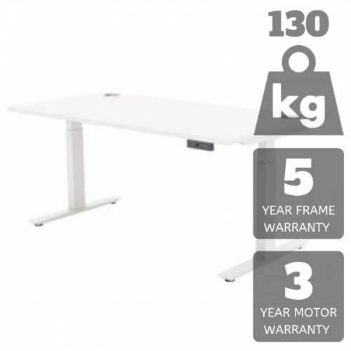 Electric Height Adjustable Workbench 1200X600 White 130KG Lift Limit