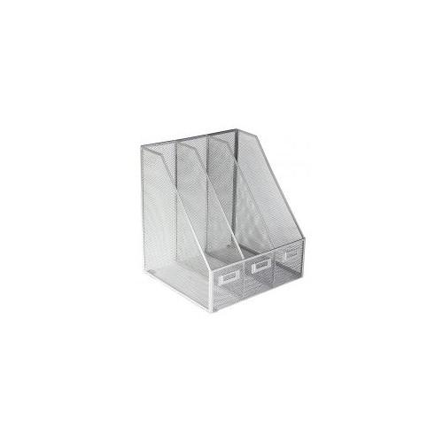 Osco Mesh Triple Magazine Rack (Silver)
