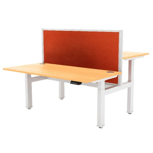 Liberty Electric Back-to-Back Sit Stand Bench Desk 1400x1630mm White/Beech