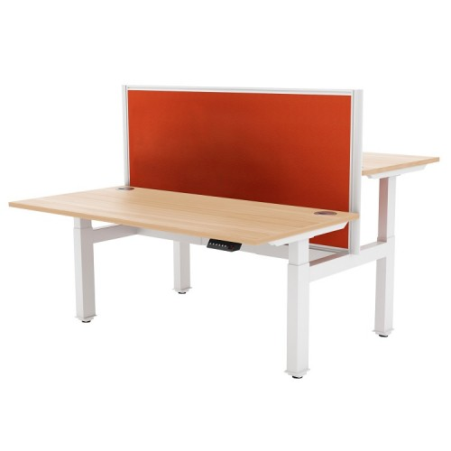 Liberty Electric Back-to-Back Sit Stand Bench Desk 1400x1630mm White/Maple
