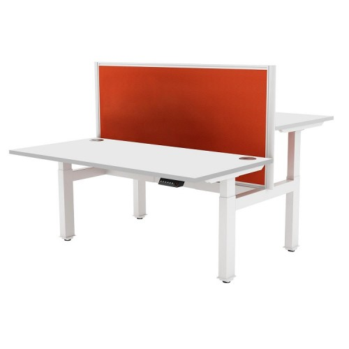 Liberty Electric Back-to-Back Sit Stand Bench Desk 1400x1630mm White/White