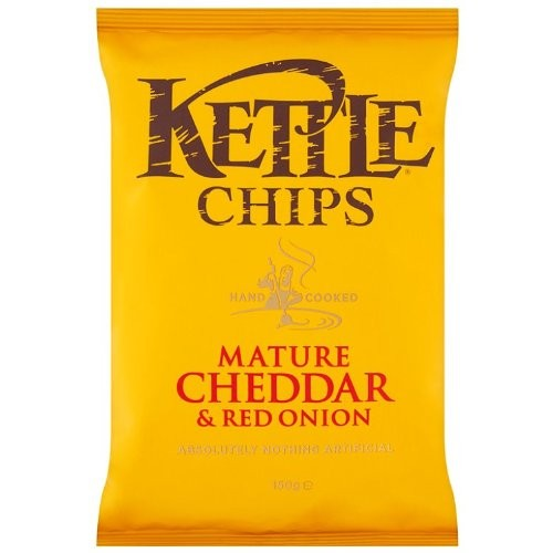 Kettle Chips Mature Cheddar and Red Onion 150g ( Pack of 12 )