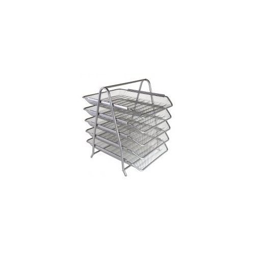 Osco Mesh Front Load 5-Tier Letter Tray (Silver)