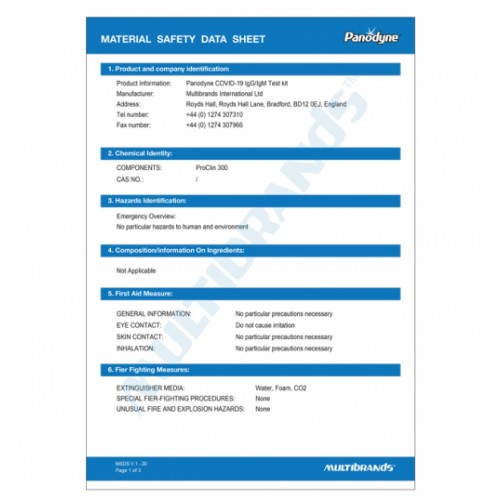 Panodyne COVID-19 Antibody Lateral Flow Test Kit Cassette Type (IgM & IgG )