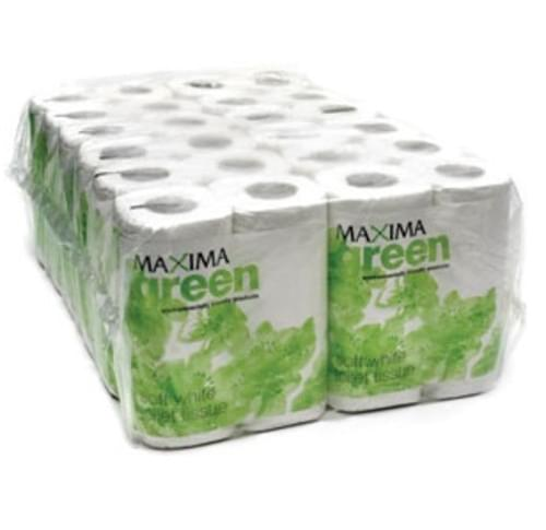 Maxima Green Toilet Roll 2-Ply 320 Sheets White [Pack 36]