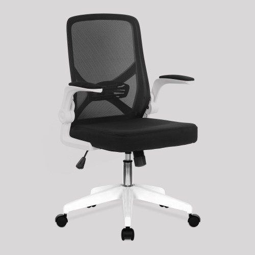Oyster - Foldable Mesh Chair with Upholstered Folding Arms, White Shell and White Nylon Base