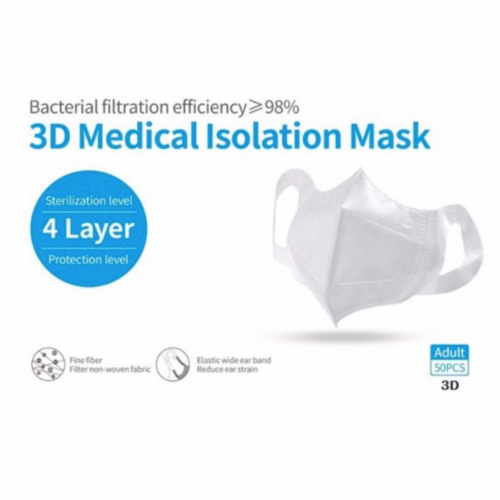 3D Medical Isolation Type IIR 4-Ply Face Mask Pk25