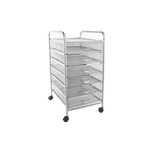 Osco Silver Wiremesh - 6 Drawer Cart With Wheels