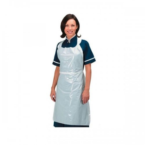 White Protective Disposable Polythene Aprons Pk500