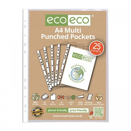 EcoEco A4 100% Recycled Bag Multi Punched Pocket 45Microns Pk25