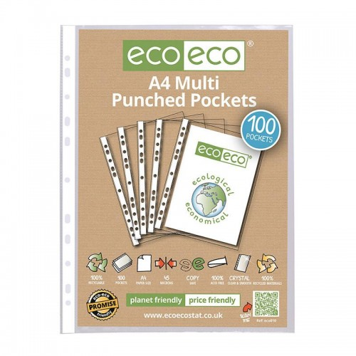 EcoEco A4 100% Recycled Bag Multi Punched Pocket 45 Microns Pk100