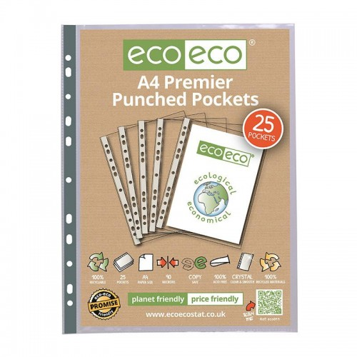 EcoEco A4 100% Recycled Bag Premier Punched Pocket 90Microns Pk25