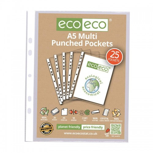 EcoEco A5 100% Recycled Bag Multi Punched Pocket 45Microns Pk25