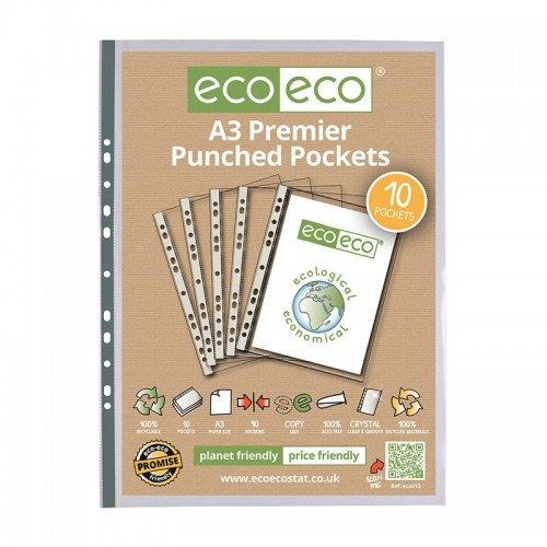 EcoEco A3 100% Recycled Bag Multi Punched Pocket 90Microns Pk10