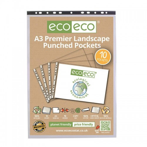 EcoEco A3 100% Recycled Bag Multi Punched Pockets Landscape 90Microns Pk10