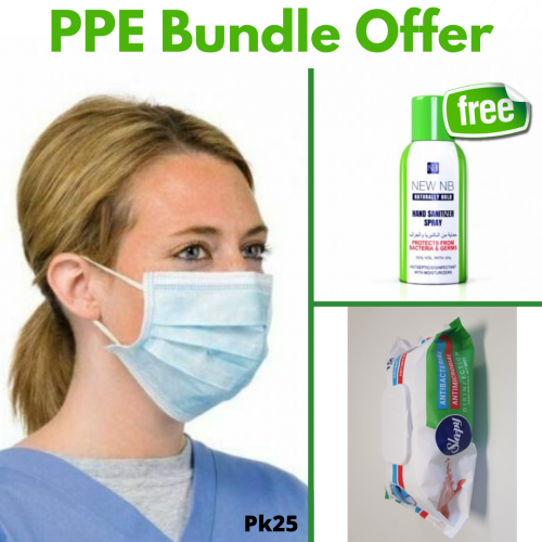 Promotional bundle: Includes 25x Face Masks, 1x FREE 120ml  Hand Sanitiser  and FREE Disinfectant Wipes