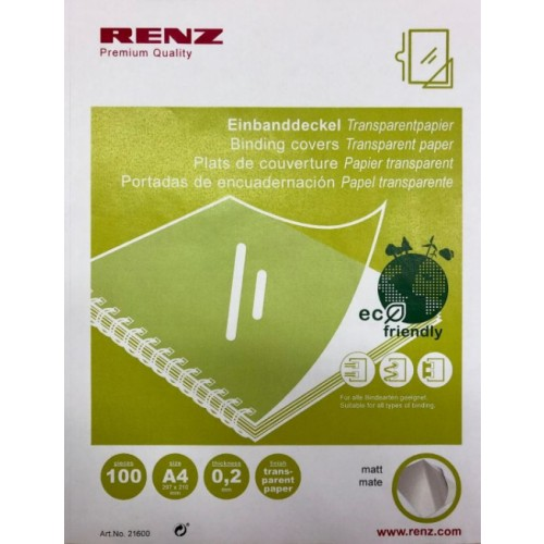 Renz A4 Eco Plastic Free Frosted Binding Covers 0.20mm Thickness [Pack 100]