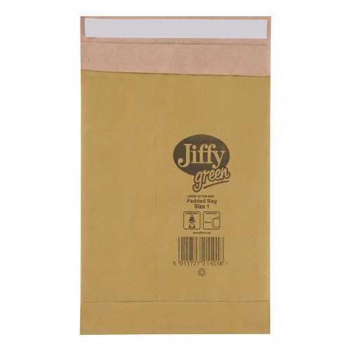 Jiffy Green Padded Bags P&S Cushioning Size 1 165x280mm Ref 01900 Pack 25