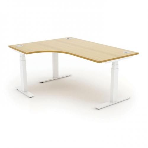 Autonomy Pro Electric Sit/Stand Crescent/Corner Desk 1400X1200X800-600-LH Beech