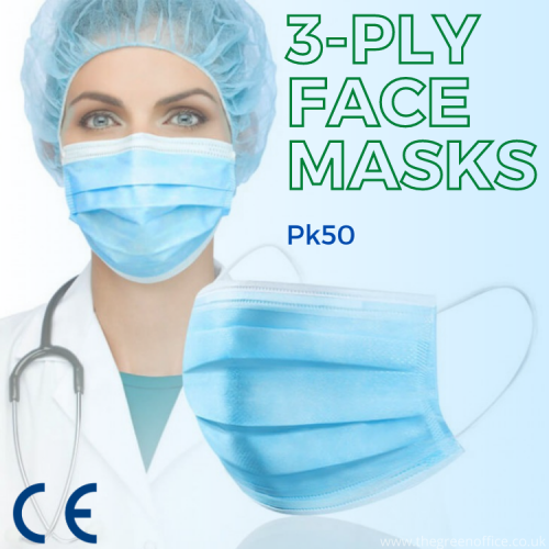 Non-Woven 3-Ply Disposable Face Mask (Pack of 50)