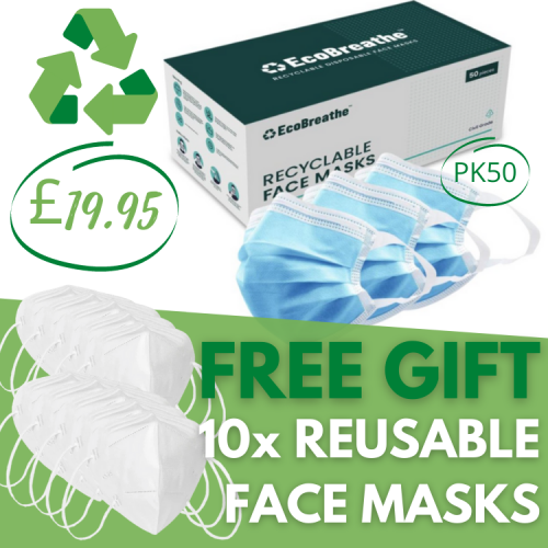 EcoBreathe 100% Recyclable Disposable Face Masks [Pk50]