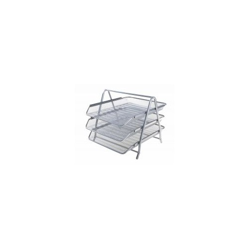 Osco Mesh Front Load 3-Tier Letter Tray (Silver)