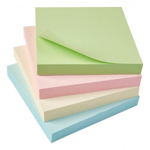 5 Star Eco Repositionable Notes 76x76mm Re-Move Pastel [Pack 12]