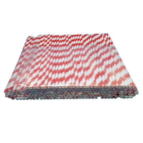 Retro Red & White Paper Stripey Straws Pack 250's