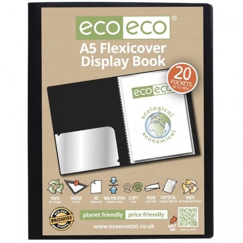 EcoEco A5 100% Recycled 20 Pocket Flexicover Display Book