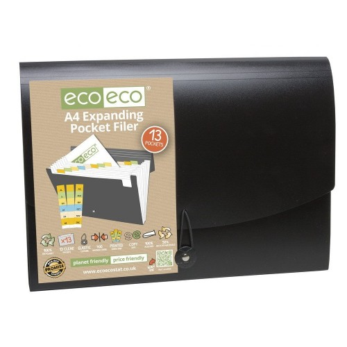 EcoEco A4 50% Recycled 13 Pocket Expanding Filer