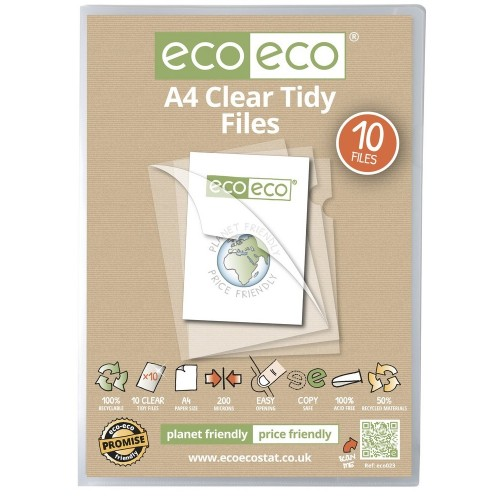 EcoEco A4 50% Recycled Bag 10 Clear Tidy Files / Clear Cut Folders