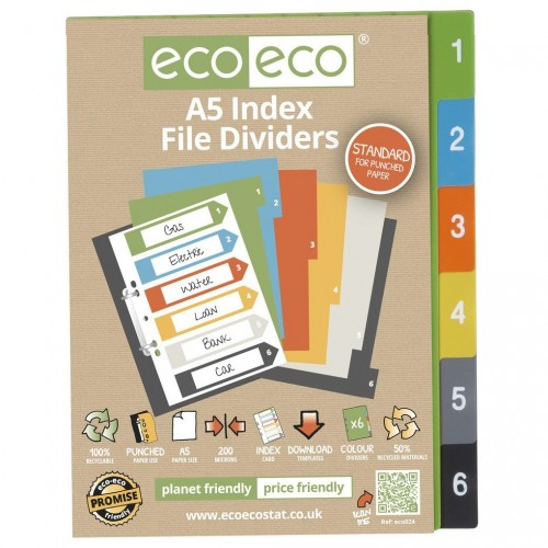 EcoEco A5 50% Recycled Set 6 Index File Dividers