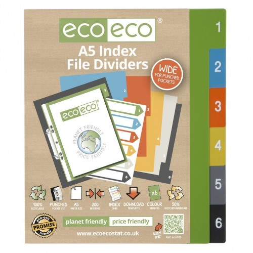 EcoEco A5 50% Recycled Set 6 Wide Index File Dividers