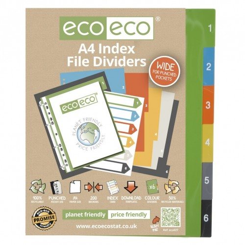 EcoEco A4 50% Recycled Set 6 Index File Dividers
