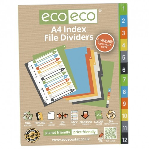 EcoEco A4 50% Recycled Set 12 Index File Dividers