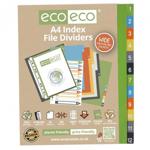 EcoEco A4 50% Recycled Set 12 Wide Index File Dividers