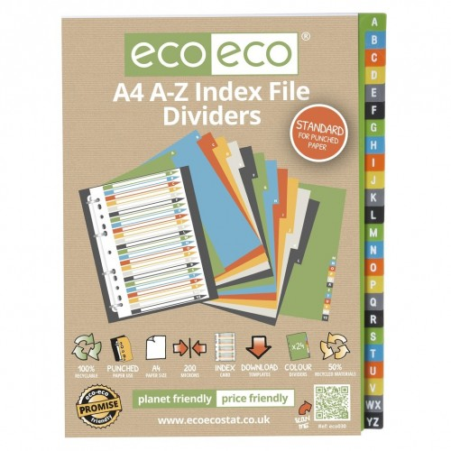 EcoEco A4 50% Recycled Set A-Z Index File Dividers
