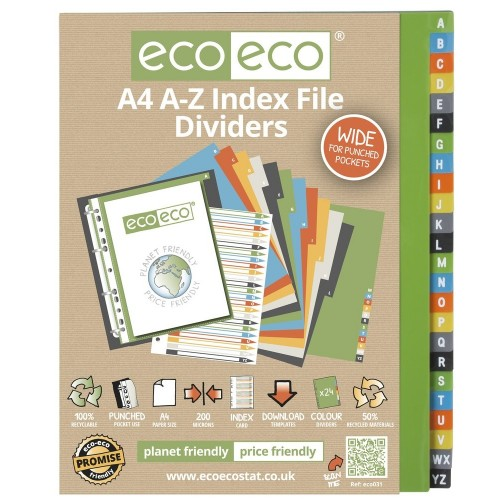 EcoEco A4 50% Recycled Set A-Z Wide Index File Dividers