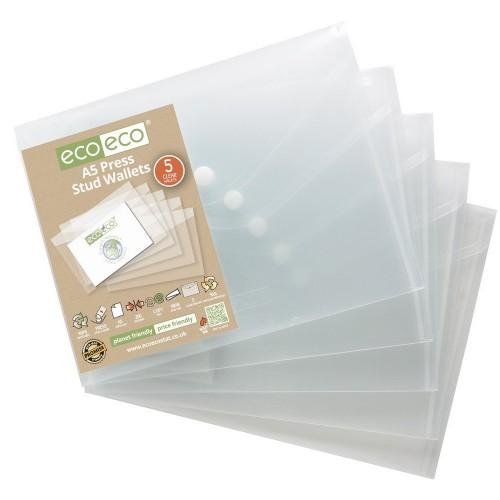 EcoEco A5 95% Recycled Bag 5 Press Stud Wallets Pk5