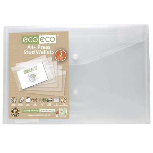 EcoEco A4+ 95% Recycled Bag 5 Press Stud Wallets Pk5