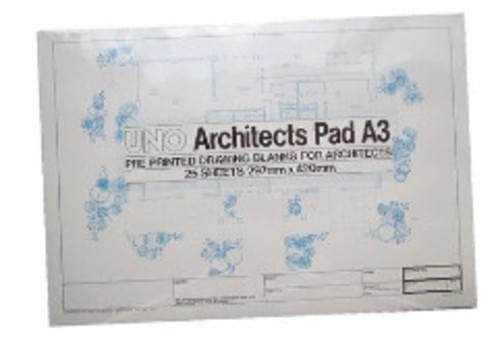 Architectural Drawing Blank A3 Pad of 25