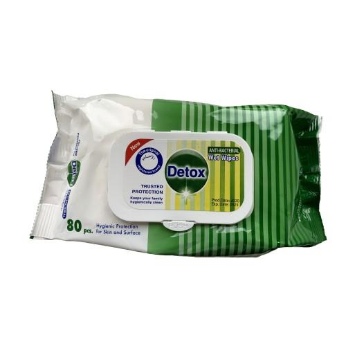 Detox Antibacterial Wet Wipes (Pack 80)