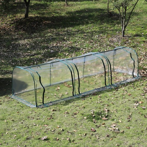 Outsunny Greenhouse, Steel Frame, 400Lx100Wx80H cm-Dark Green/Transparent