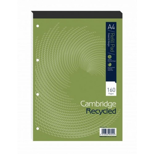 A4 Cambridge Recycled Card Cover Refill Pad - 160 Pages