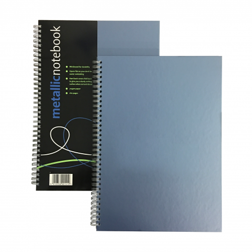 Metallic Wirebound Notebook A4 Ruled Blue