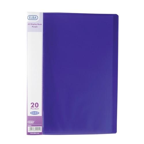 Elba Display Books A4 20 Pocket Purple