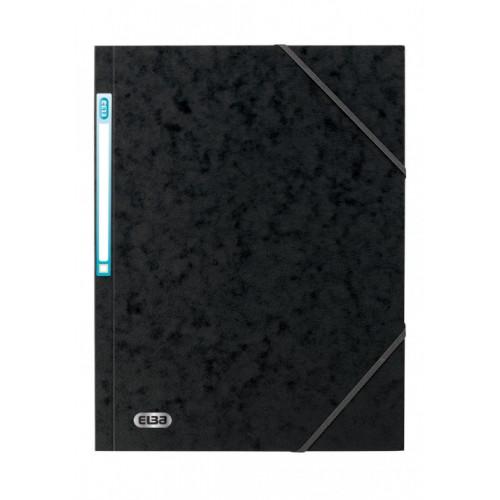 Elba 3 Flap Elasticted Folders Black